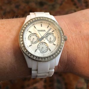 White Fossil Watch with Rhinestones